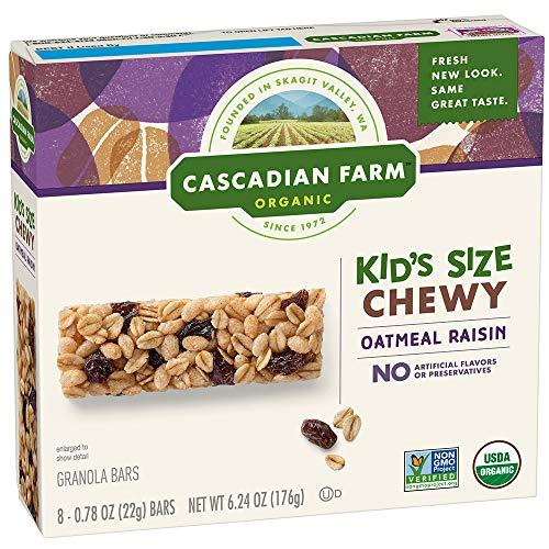 - Cascadian Farm Chewy Granola Bar Organic non-GMO Oatmeal Raisin, 6.24 Ounce Bars, 8 Count