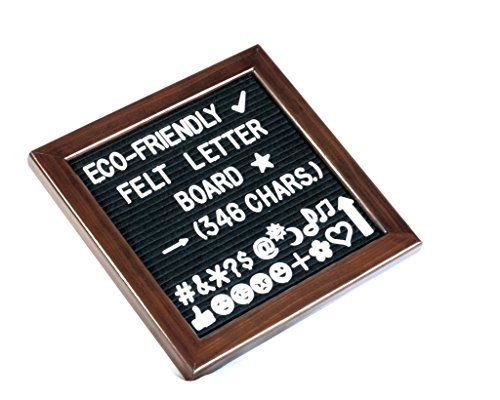 Felt/Changeable Letter Board with Eco-Friendly Cherry-Red Pine Wood Frame, Black Felt, and 346 Letters, Numbers, Symbols & Emojis; 10