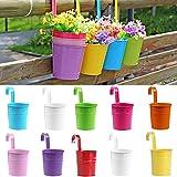 SQingYu Colorful Vertical Hook Flower pots Tin Pot, Balcony Garden Planter Vase Bucket Metal Iron pots Hang Bucket Home Decor (1Pc)