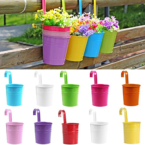 SQingYu Colorful Vertical Hook Flower pots Tin Pot, Balcony Garden Planter Vase Bucket Metal Iron pots Hang Bucket Home Decor (Hook Tin)