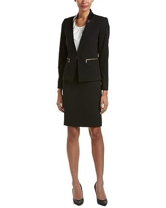 f66146ffeb5e Tahari ASL Womens 2Pc Faux Leather Trim Skirt Suit Black 10 at ...