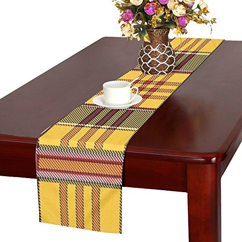 QYUESHANG Plaid Tartan Scottish Yellow Red Black Pattern Table Runner, Kitchen Dining Table Runner 16 X 72 Inch For Dinner Parties, Events, Decor Black Watch Silk Tartan