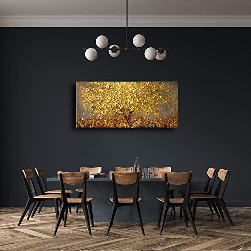 Faicai Art Thick Texture Gold Tree Paintings Canvas Wall Art