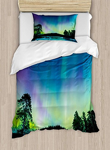 Fantasy Star Twin XL Extra Long Bedding Set,Aurora Borealis Duvet Cover Set,Sky Over Lake Surrounded Forest Woods Hemisphere Print,Include 1 Flat Sheet 1 Duvet Cover and 2 Pillow Cases by Fantasy Star (Image #1)