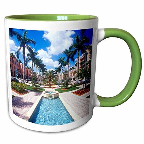 3dRose Danita Delimont - Florida - Downtown Mizner Park, Boca Raton, Florida, USA - US10 GJO0203 - Greg Johnston - 11oz Two-Tone Green Mug - Raton Boca Outlet