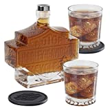 Harley-Davidson Bar & Shield Logo Decanter Set, Hand Blown Set HDL-18746