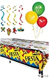 Fiesta Cinco De Mayo Party Pack Decorations Balloons and Tablecloth - 25 Pieces