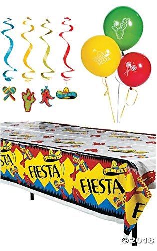 Fiesta Cinco De Mayo Party Pack Decorations Balloons and Tablecloth - 25 Pieces by JDProvisions