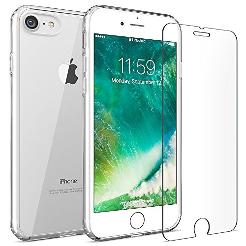 iPhone 7 8 case, FlexGear 360 Slim Clear Hard PC Back TPU bumper + Glass Screen Protector (Slim Back Protector Case)