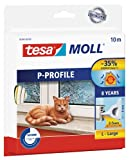 tesa UK P-Profile Draught Excluder for Doors and Windows, 10 m x 9 mm - White