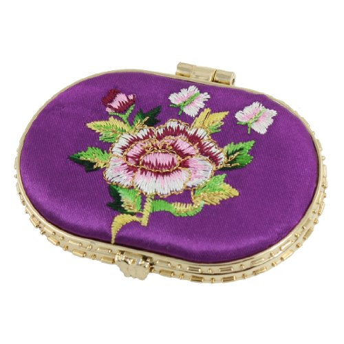 uxcell Purple Embroidered Flower Accent Oval Shaped Padded Cosmetic (Gold Oval Shaped Accent)