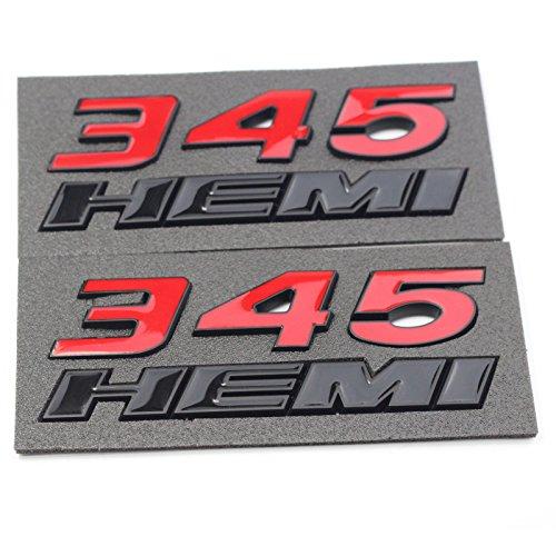 Btopars 2x Red 345 Black HEMI Emblem Fender Side Badge Sticker 6.4L Decal For Dodge RAM Challenger SRT Chrysler 300c 3500 ()