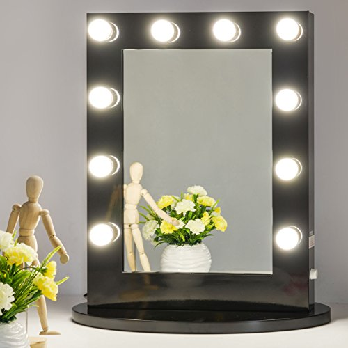 Chende Black Hollywood Makeup Vanity Mirror With Light Tabletops Lighted Mirror With Dimmer Led