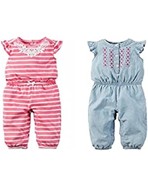 Baby Girls' Floral Print Romper Pink and Blue