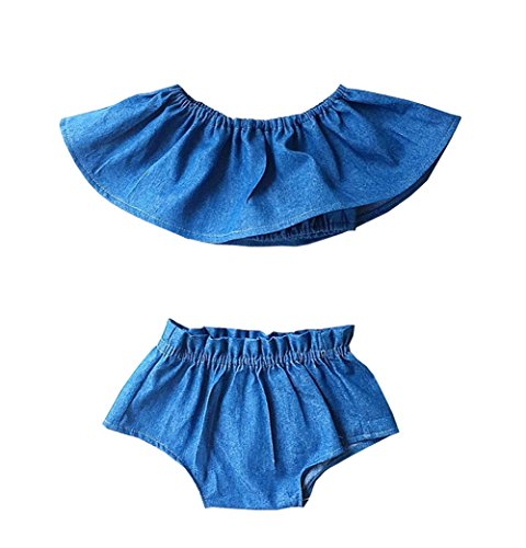 Ruffle Top Denim (Baby Fashion Girls Ruffle Denim Crop Top High Waist Bloomer Short 2 Pieces Outfit (6-12M, Blue))