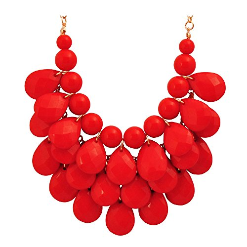 Jane Stone Fashion Bubble Layered Necklace Floating Teardrop Collar Statement Jewelry for - Necklace Chunky Red