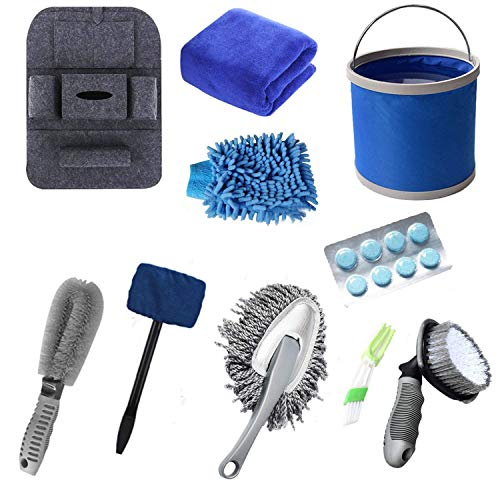 AOVAVO Car Cleaning Kit,10 Pcs Car Cleaning Brush with Windshield Cleaning Tool/Water Bucket/Car Washing Towel//Tire Brush/Car Washing Mitt