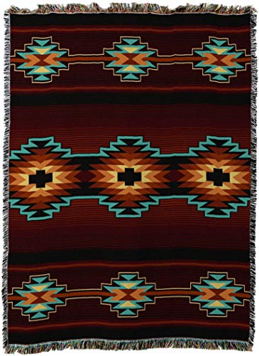 (Pure Country Weavers - Esme Southwest Geometric Woven Tapestry Throw Blanket with Fringe Cotton 54x70)