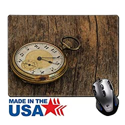 """MSD Natural Rubber Mouse Pad/Mat with Stitched Edges 9.8"""" x 7.9"""" old clock vintage picture in wood background Image ID 27185661"""