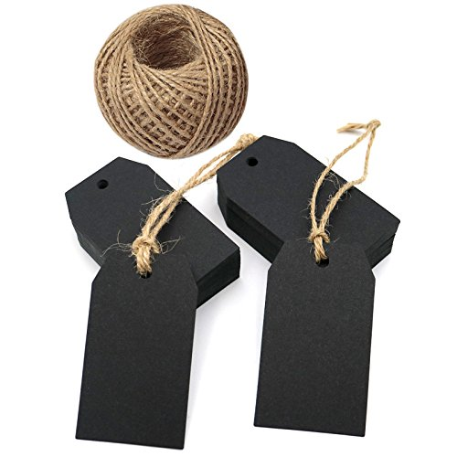 Black Gift Tags,100 Pcs Kraft Paper Gift Tags with String,Craft Hang Tags with 100 Feet Natural Jute (Like Hang Tags)
