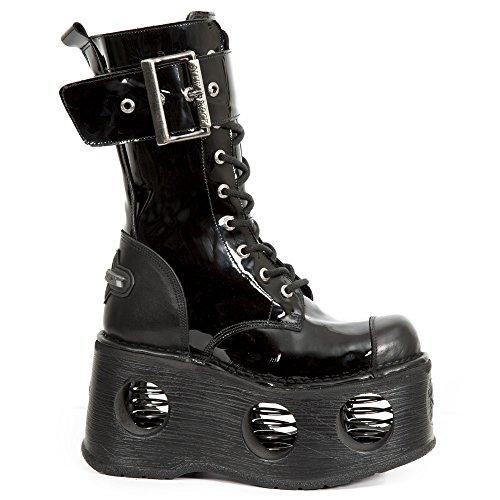 Cuero Gotico Piel M Negro Plataforma Hombre Mujer New Unisex Punk Heavy s5 312 Botas Rock Z6xwzSqg