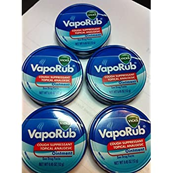 Vicks Vaporub Ointment Cream Cough Suppressant and Topical Analgesic of 0.45 Oz JAR - 5 Packs