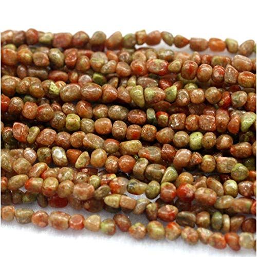 GemAbyss Beads Gemstone 1 Strands Natural Green Pink Yellow Red Autumn Jasper Nugget Loose Beads Free Form Beads Fit Jewelry Size- 5x7mm 15 Inch Long 03972 Code-MVG-29947 ()