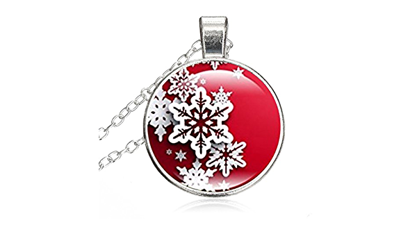 DOME-SPACE Women Small Round Disc Snowflake DomeGlass Cabochon Jewelry Pendant Necklace Gift for Women