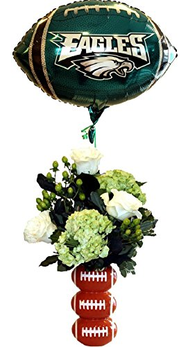 Eagles Footballs with Mylar Balloon FarmDirect Fresh Flower Arrangement by Plaza Florist - Fresh Flowers Hand Delivered in Philadelphia Area