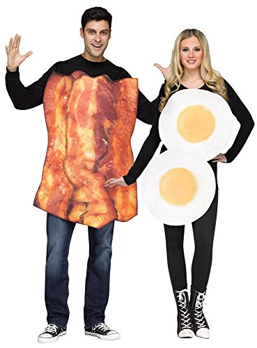 Thing 1 And Thing 2 Couples Costumes (Bacon & Eggs Adult Couples Costume - 2 Costumes in 1 Bag)