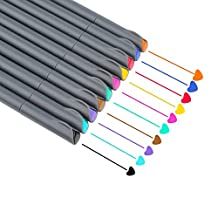 NIUTOP Fineliner Color Pen Set Fine Line Drawing Pen 0.4mm Fine Point Markers Perfect for Coloring Book and Bullet Journal Art Projects, Pack of 10 Assorted Colors