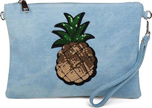styleBREAKER bolso «clutch» vaquero con piña de lentejuelas brillantes, correa para el hombro y correa de mano, bolso, señora 02012176, color:Azul claro Azul claro