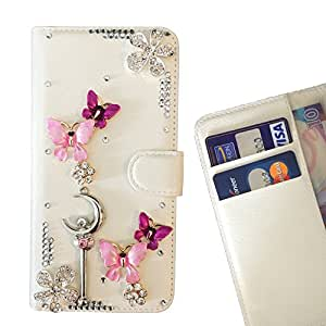 Super Marley Shop Crystal Diamond Waller Leather Case Cover - FOR REDMI 3 - Butterfly Flower Pink Moon -