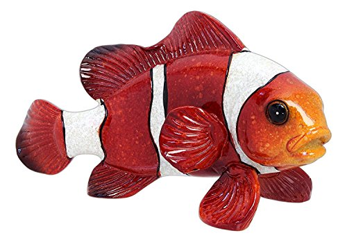 Green Tree Resin Orange and White Clown Fish, Indoor Outdoor Decor, 5.5 Inches Long