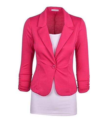 Wowbridal mujeres botón de un solo trabajo de color sólido chaqueta de punto