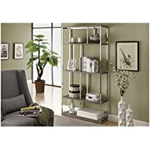 Monarch Reclaimed-Look/Chrome Metal Bookcase, 72-Inch, Dark Taupe