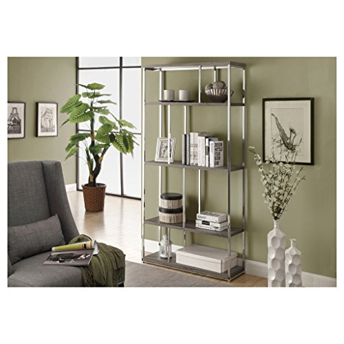 Monarch Reclaimed-Look/Chrome Metal Bookcase, 72-Inch, Dark Taupe by Monarch
