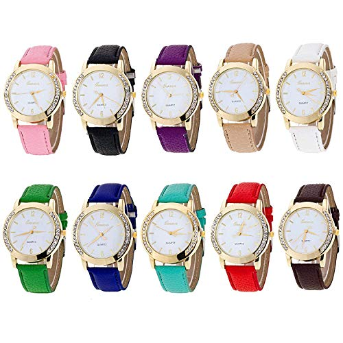 Geneva Women's 10 PCS Watches Crystal Wristwatch Set Leather Band (Bands Watch Geneva)