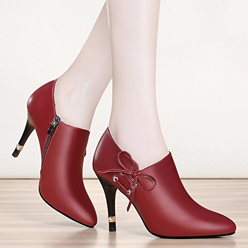 Women's High Red Wild Shoes Pointed High Heel Heel Wine zapatos Single Waterproof Platform tacón Autumn Black de Shoes alto Shoes Stiletto Yukun Women's 0qFU1w