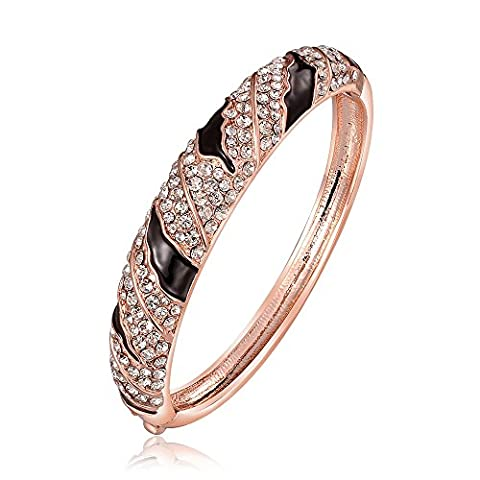Dilanco 18K Rose Gold Plated Women's Bangle with Autrian Crystals Vintage Statement Bracelets