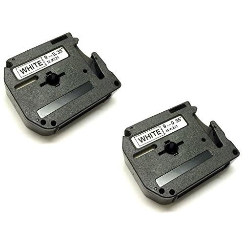 Prestige Cartridge MK221/M-K221/MK-221/MK-221BZ Lot de 2 Rubans cassettes pour Imprimante Brother P-Touch 9 mm x 8 m Noir sur Blanc