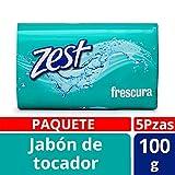 Zest Jabón de Tocador Frescura Vitamina E con Glicerina, 100 g, Paquete 5 Piezas