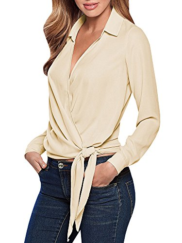 Umeko Womens Blouses Casual Long Sleeve Wrap Chiffon Tie Knot Front Work Blouse (Chiffon Stand Collar)