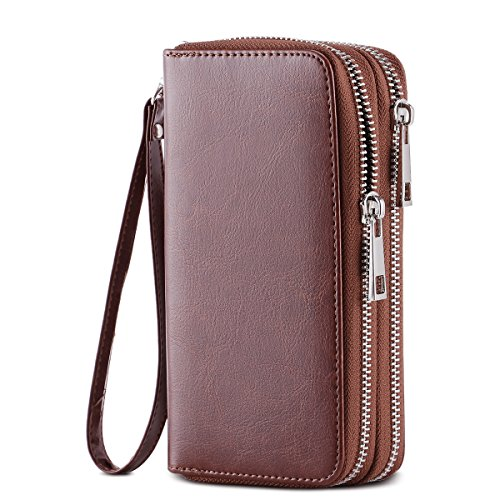 HAWEE Cellphone Wallet Dual Zipper Wristlet Purse with Credit Card Case/Coin Pouch/Smart Phone Pocket Soft Leather for Women or Lady, Brown-Shiny