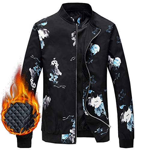 Men's Jacket, Floral Pattern Winter Outdoor Quilted Cotton Padded Bomber Jacket Windbreaker Coat Outerwear Men, 2#Padded, US Large/42 = Tag 3XL
