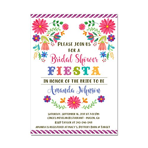Mexican Fiesta Floral Bridal Shower or Couples Shower Invitation, Set of 10 5x7 invitations with white envelopes