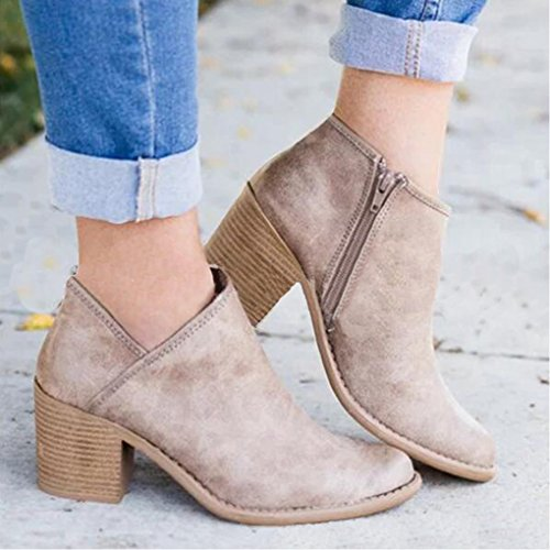 PU Bloc Boots Cuir Bootie Chelsea Bottines Boots Femme L'Automne Minetom Mode Bottes Ankle Chaussure Talons Casual xqwanX