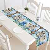 InterestPrint Animal Owl Sitting on Tree Long Table Runner 16 X 72 Inches, Bird on Tree Branch Rectangle Table Runner Cotton Linen Cloth Placemat for Office Kitchen Dining Wedding Party Home Decor