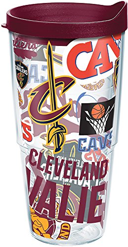 Tervis 1264934 NBA Cleveland Cavaliers All Over Tumbler with Wrap and Maroon Lid 24oz, Clear by Tervis