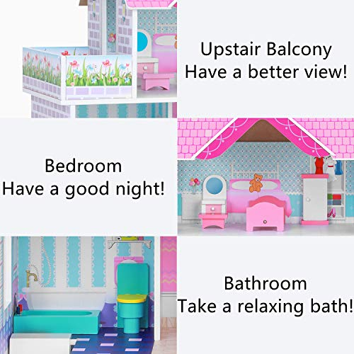 BABLE Wooden Dollhouse with Furniture Pieces,Pretend Play Toy House for Little Girls(3-9 Years Old),Furnished Dollhouse Kit for Small Place, Modern Dollhouse with Accessories, 34 x12 x34 in,Pink